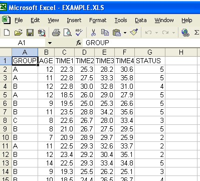 Excel for Import into WINKS