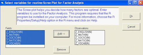 Facor Analsyis WINKS Dialog Box